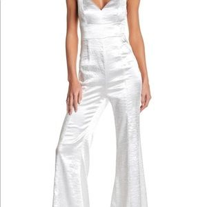 Free People Satin Silver Jumpsuit Size 0 NWT